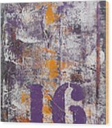 Lucky Number 16 Purple Orange Grey Abstract By Chakramoon Wood Print