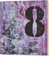 Lucky Number 8 Pink Black White Abstract By Chakramoon Wood Print