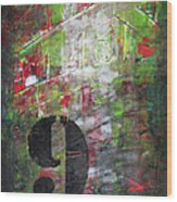 Lucky Number 9 Green Red Grey Black Abstract By Chakramoon Wood Print