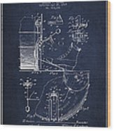 Ludwig Foot Pedal Patent Drawing From 1909 - Navy Blue Wood Print