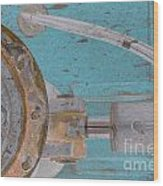 Lug Nut Wheel Left Turquoise And Copper Wood Print