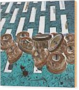 Lug Nuts On Grate Vertical Turquoise Copper Wood Print