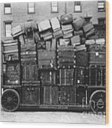 Luggage Cart At Train Station, 1910s Wood Print