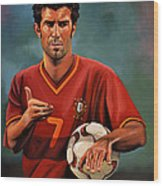 Luis Figo Wood Print by Paul Meijering