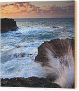 Lumahai Sea Explosion Wood Print