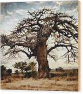 Luminous Sky And Tree Skeleton On The Prairie Wood Print