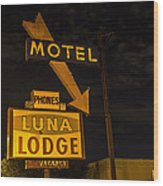 Luna Lodge Night Wood Print