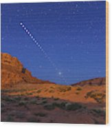 Lunar Eclipse Sequence From Monument Wood Print