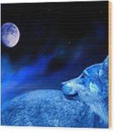 Lunar Wolf 2 Wood Print
