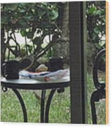 Lunch Guests Al Fresco Wood Print