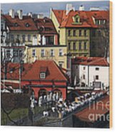 Lunch Time In Prague Wood Print