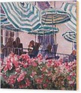 Lunch Under Umbrellas Wood Print by Kris Parins