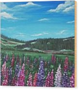 Lupine Hills Wood Print