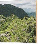 Lush Hawaiian Mountains Wood Print