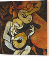Lute Players Wood Print