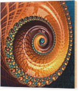 Luxe Fractal Spiral Brown And Blue Wood Print