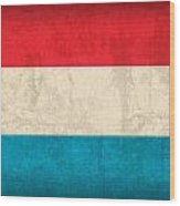 Luxembourg Flag Vintage Distressed Finish Wood Print