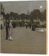 Luxembourg Gardens At Twilight Wood Print