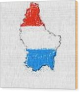Luxembourg Painted Flag Map Wood Print