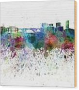 Luxembourg Skyline In Watercolor On White Background Wood Print
