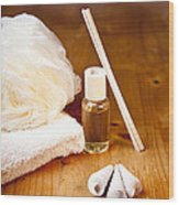 Luxury Bath Or Shower Set With Towel Sponge Perfume And Shells On Wooden Table Wood Print by Gino De Graaf