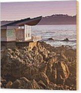Luxury Home Overlooks The Big Sur Wood Print