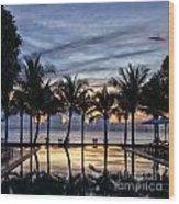 Luxury Infinity Pool At Sunset Wood Print