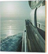 Luxury Motor Yacht Sailing At Sunset Wood Print