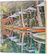 Luxury Pool With Loungers Wood Print