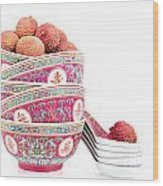 Lychees In Bowls With Spoons Wood Print
