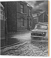 Lye Rain Storm, Morris Mini Car - 1960's    Ref-246 Wood Print