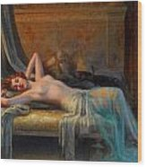 Lying Nude In A Bed Of Roses Wood Print by Delphin Enjolras