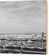 Lyon From The Basilique De Fourviere-bw Wood Print
