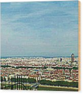 Lyon From The Basilique De Fourviere-color Wood Print