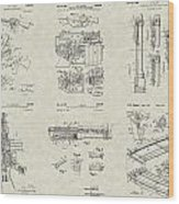 M-16 Military Rifle Patent Collection Wood Print