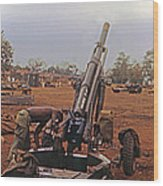 M102 105mm Light Towed Howitzer  2 9th Arty At Lz Oasis R Vietnam 1969 Wood Print
