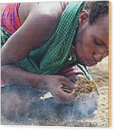 Maasai Fire Maker Wood Print