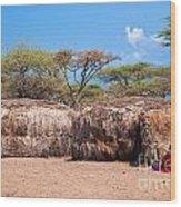 Maasai Huts In Their Village In Tanzania Wood Print