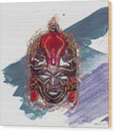 Maasai Mask - The Rain God Ngai Wood Print