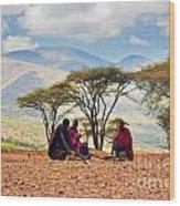 Maasai Men Sitting. Savannah Landscape In Tanzania Wood Print
