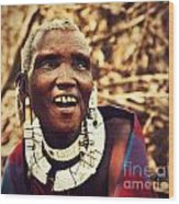 Maasai Old Woman Portrait In Tanzania Wood Print