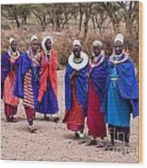 Maasai Women In Front Of Their Village In Tanzania Wood Print