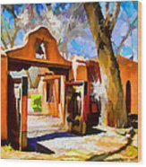 Mabel's Gate As Oil Painting Wood Print