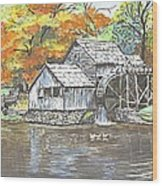 Mabry Grist Mill In Virginia Usa Wood Print