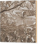 Mabry Mill In Sepia Wood Print