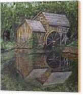 Mabry Mill Oil On Slate Wood Print
