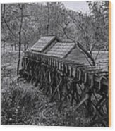 Mabry Mill Water Shute In Black And White Wood Print