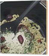 Macaroni And Ingredients Wood Print