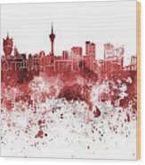 Macau Skyline In Red Watercolor On White Background Wood Print