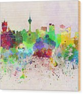 Macau Skyline In Watercolor Background Wood Print